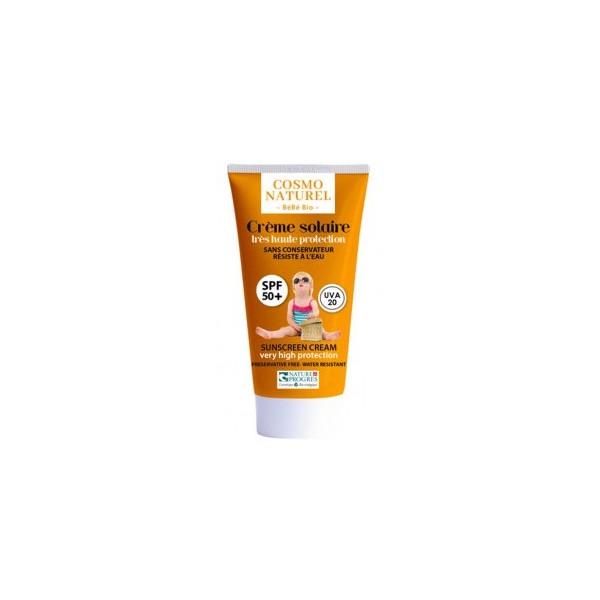 Crème solaire haute protection SPF 50 sans conservateur - Cosmo Naturel/Bébé Bio